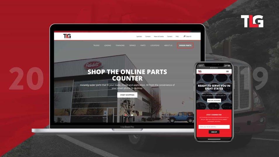 A screenshot of TLG's new homepage