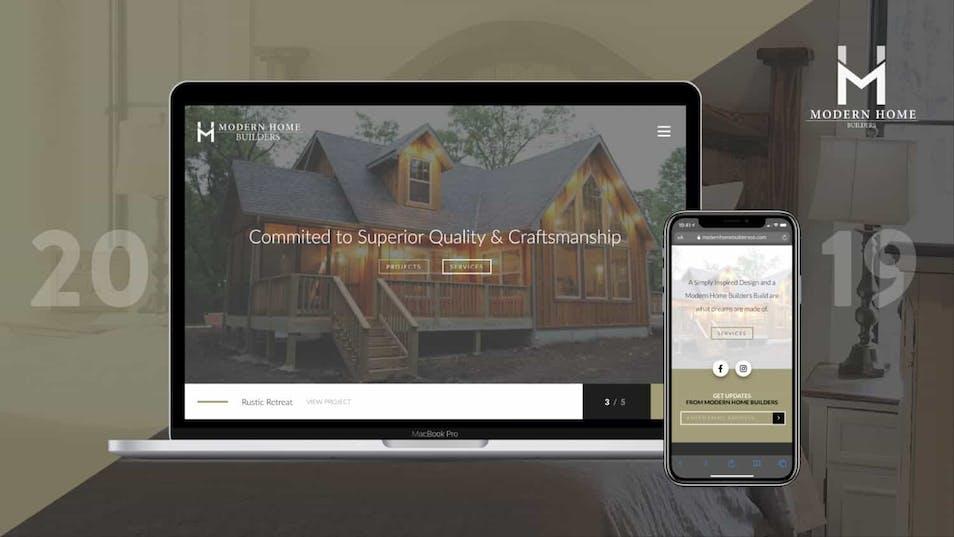 A screenshot of Modern Home Builders' website