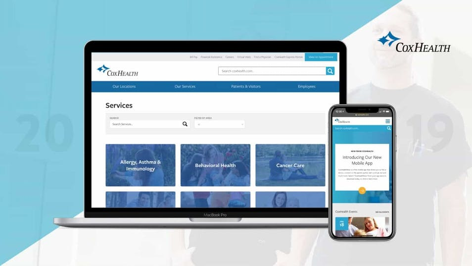 A screenshot of new website pages for CoxHealth