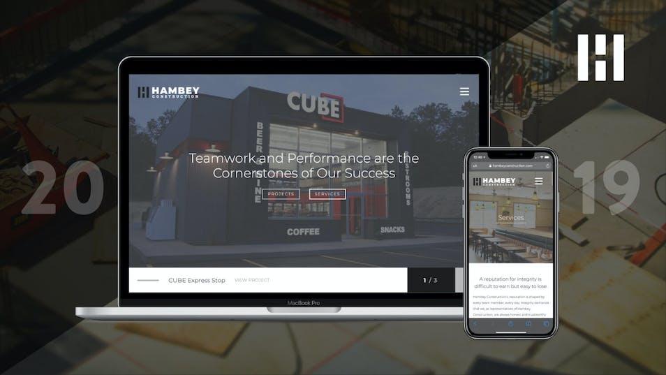 A screenshot of a new website for Hambey Construction