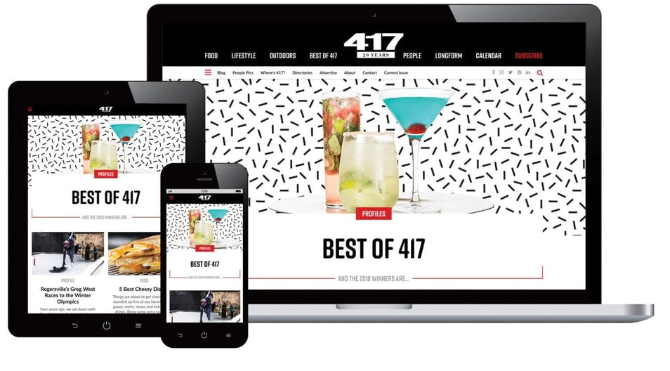 A screenshot of the 417 Magazine website on various devices