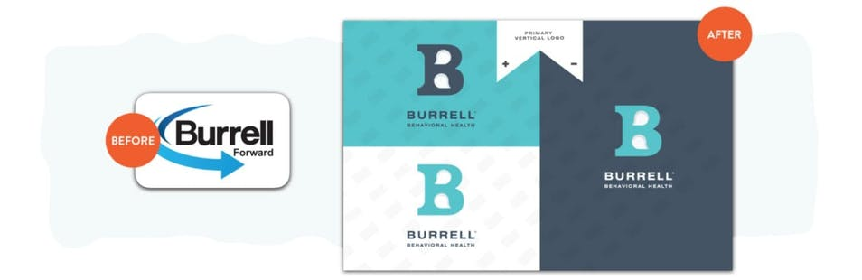 A before-and-after comparison of the Burrell logo