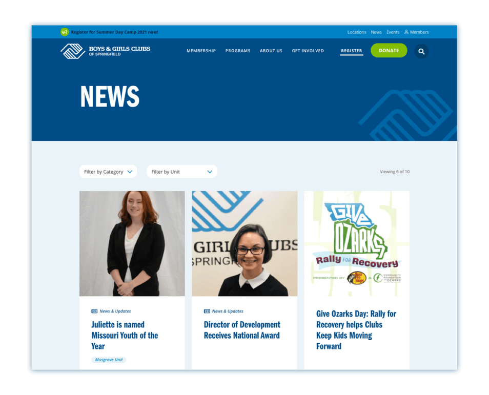 The NEWS page of a Digital Blue Door website