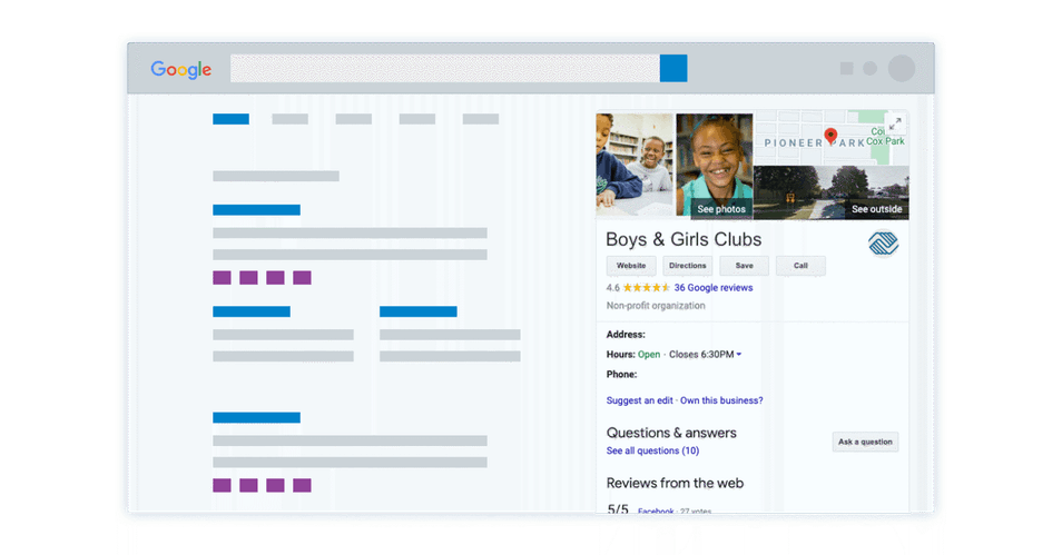 A mockup of a Google My Business profile