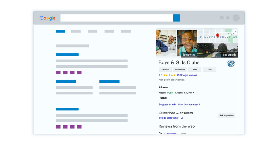 Mocked up screen of a google my business profile