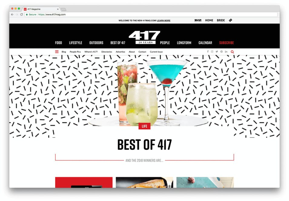A screenshot of the finished 417 Magazine site