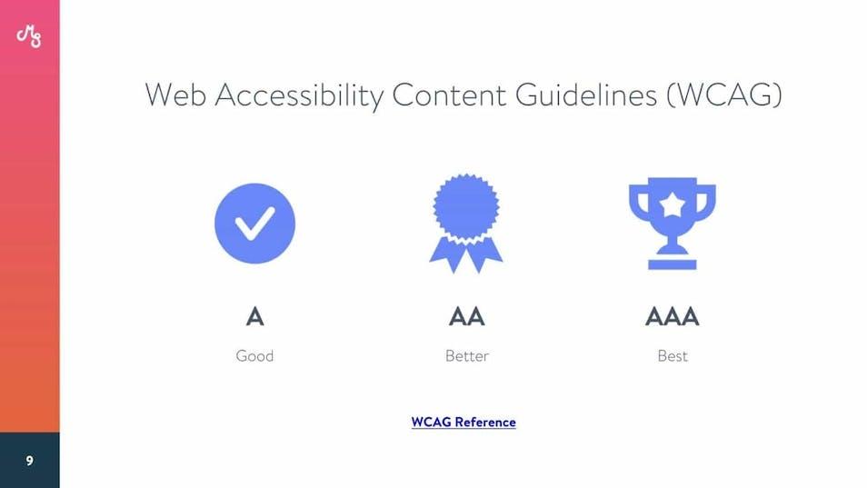 A screenshot from Maranda's accessibility presentatio