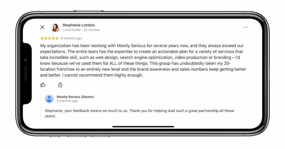 A screenshot of a Google review
