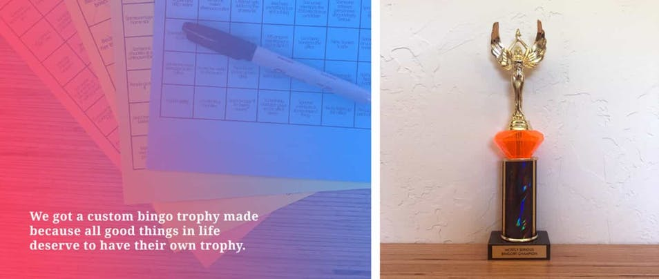 A picture of Mostly Serious bingo boards and the agency's coveted bingo trophy