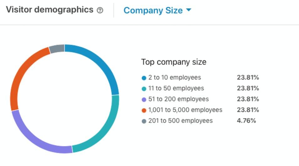 A screenshot of LinkedIn's visitor demographics data